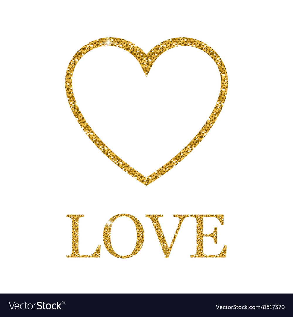 dec5da3795f0 Valentines day golden glitter design element Vector Image