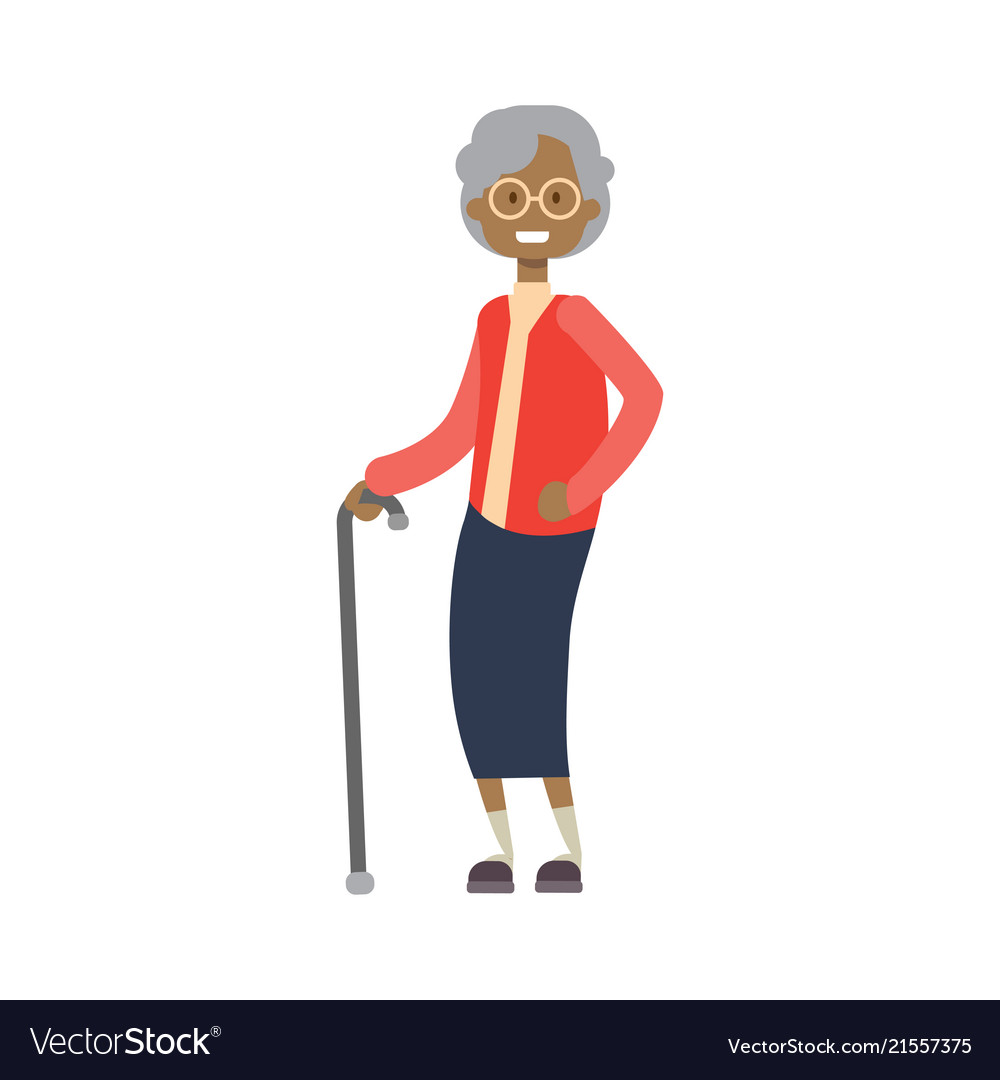 African grandmother with stick full length avatar