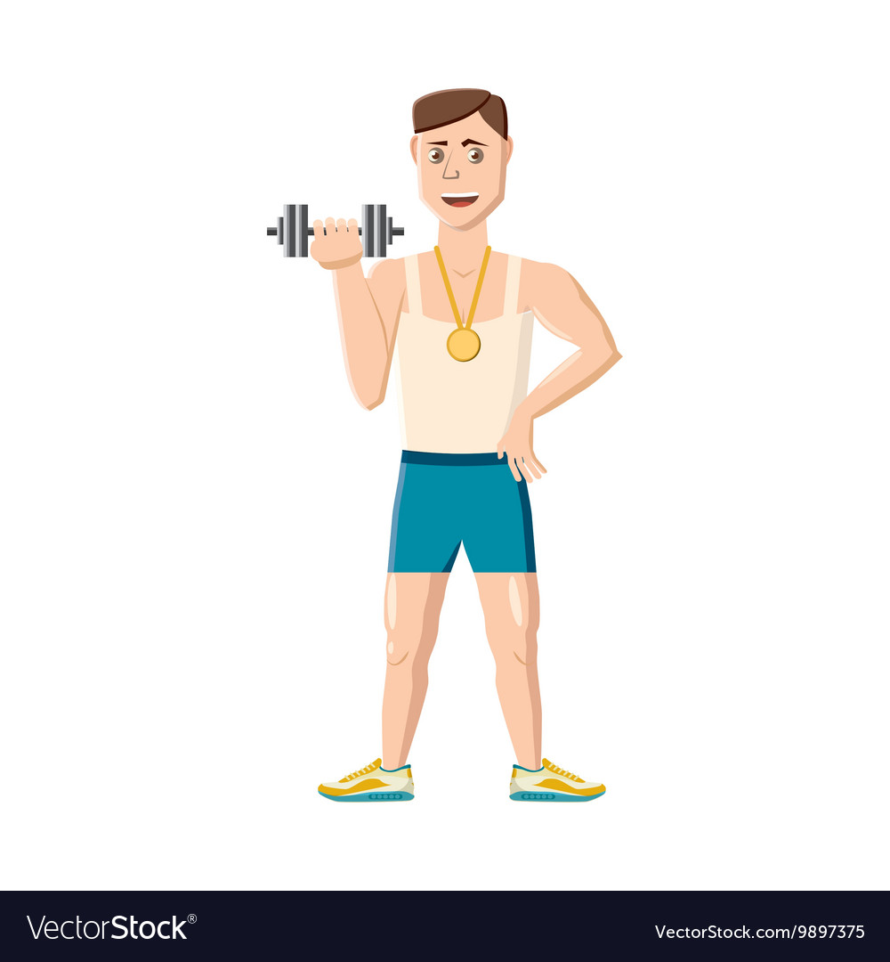 Athlete with dumbbell icon cartoon style