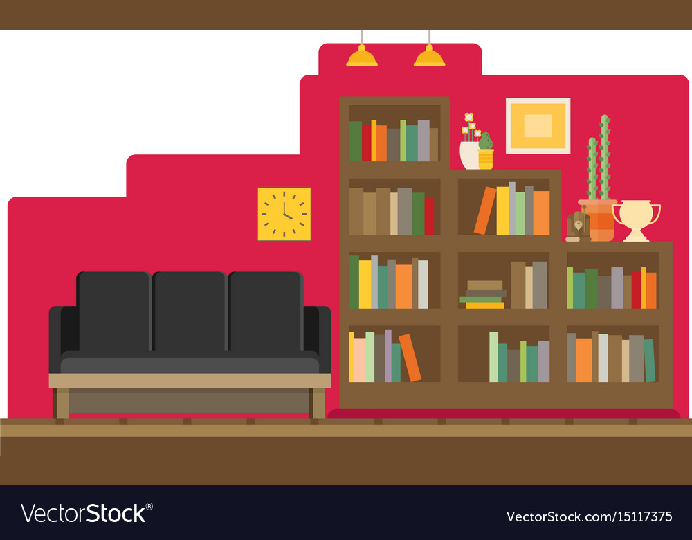 Cabinet and library books and knowledge flat and