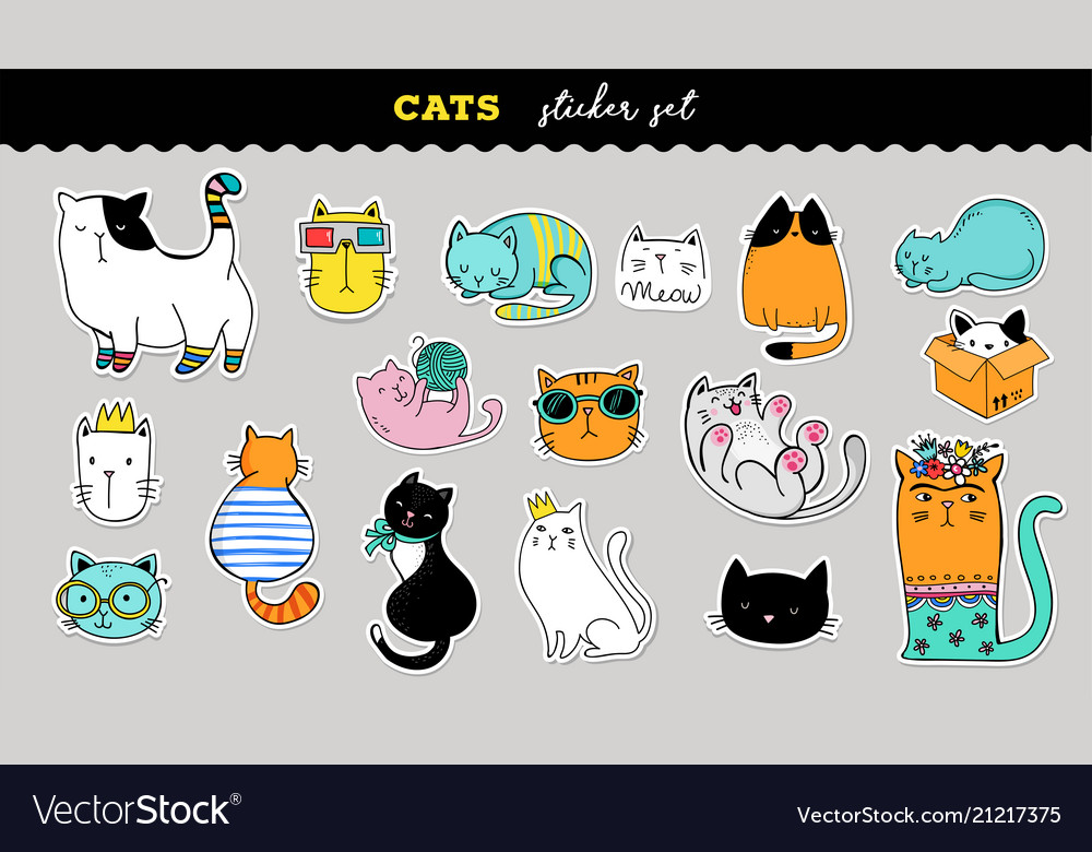 Cats cute sticker collection hand drawn