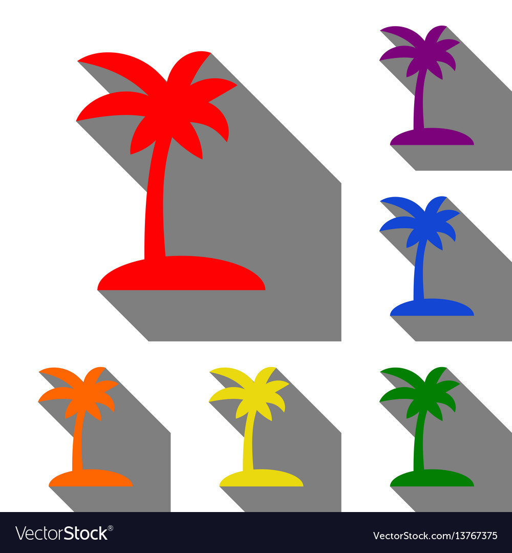 Coconut palm tree sign set of red orange yellow