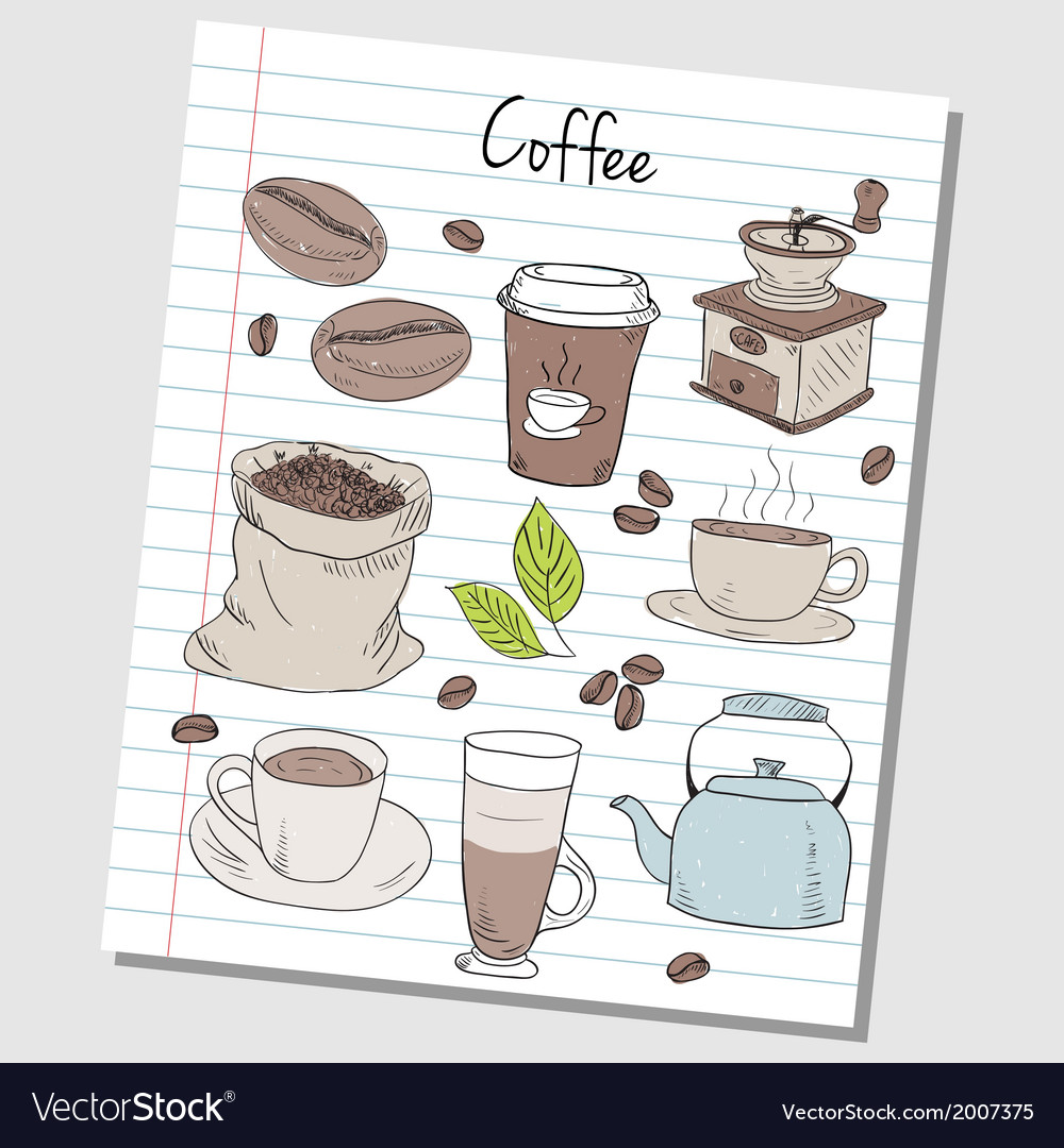 Coffee doodles lined paper colored