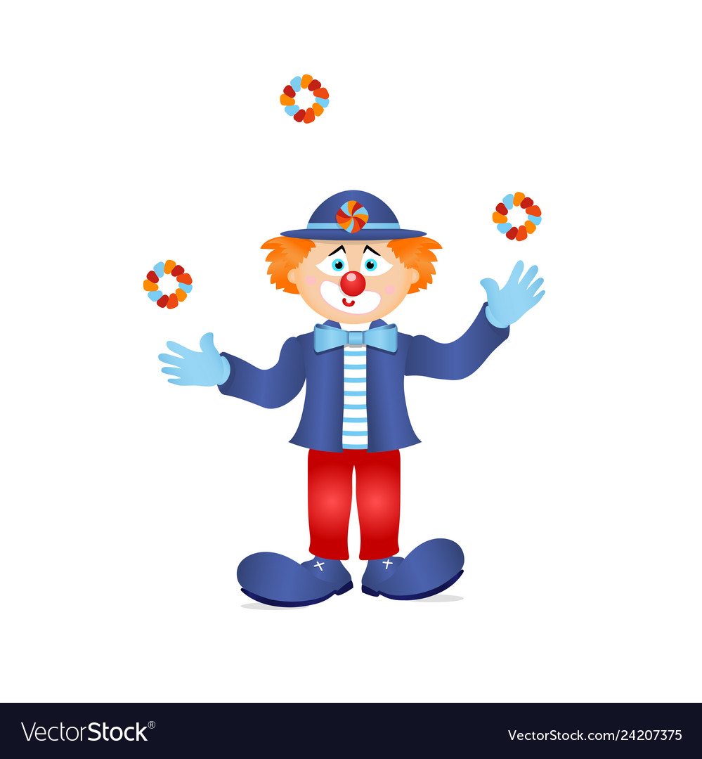 Colorful clown circus costume character