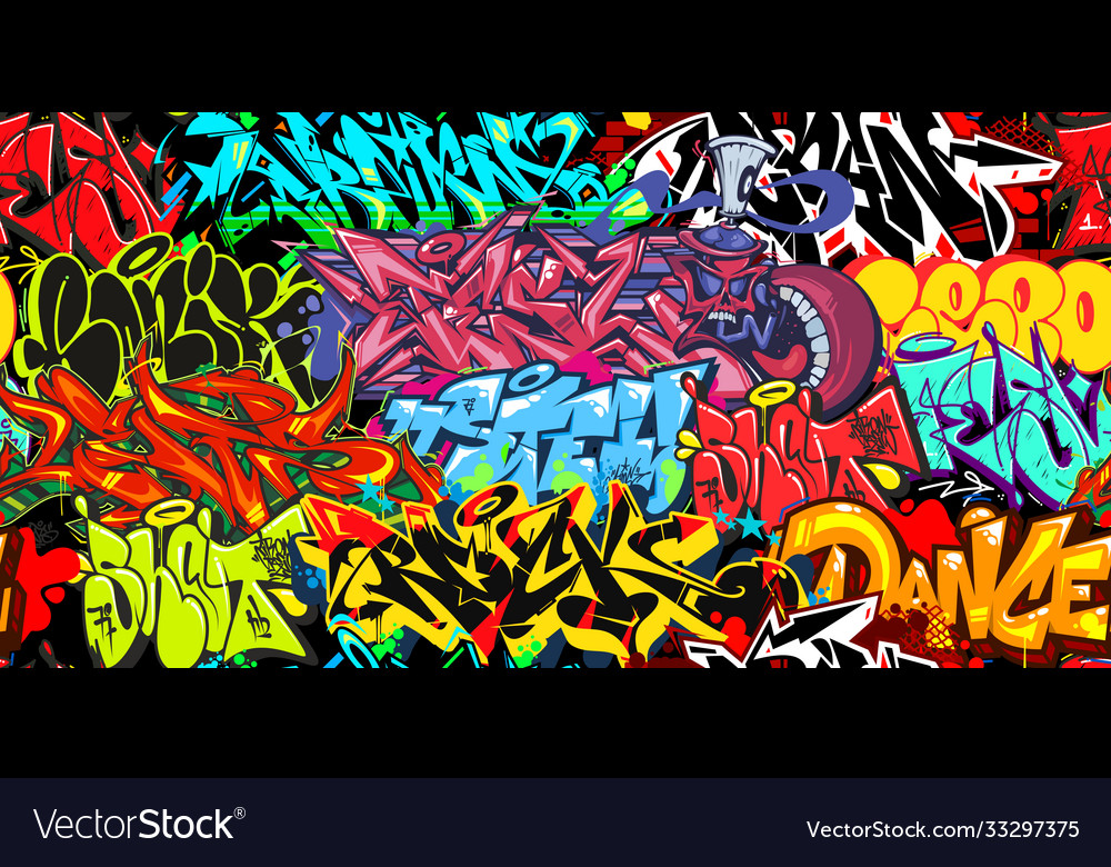 Colorful graffiti street art seamless pattern