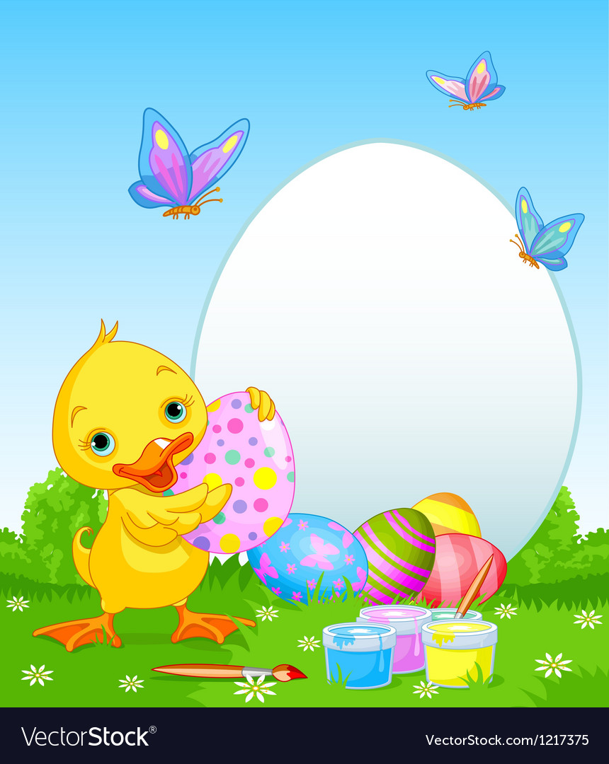 Easter Duckling painting Easter Eggs vector image