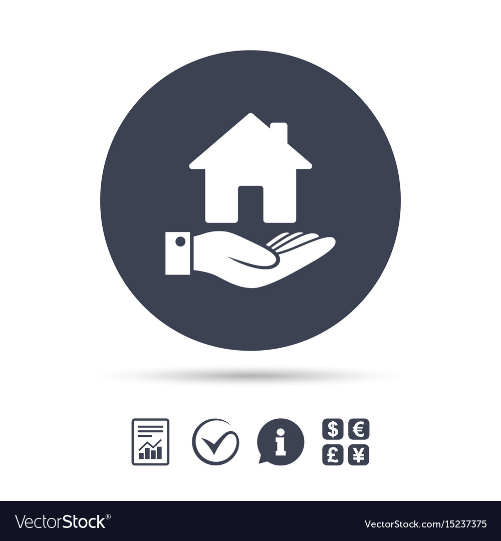 Home And Hand Sign Palm Holds House Symbol Vector Image
