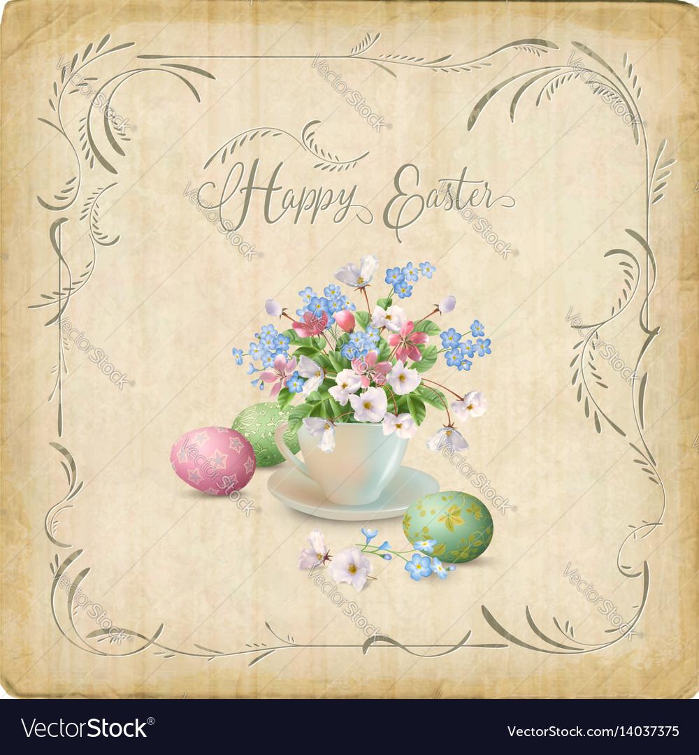 Retro easter card vector image