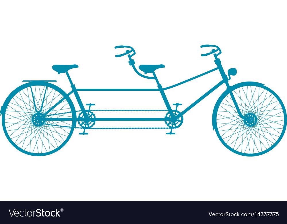 Retro tandem bicycle in blue design