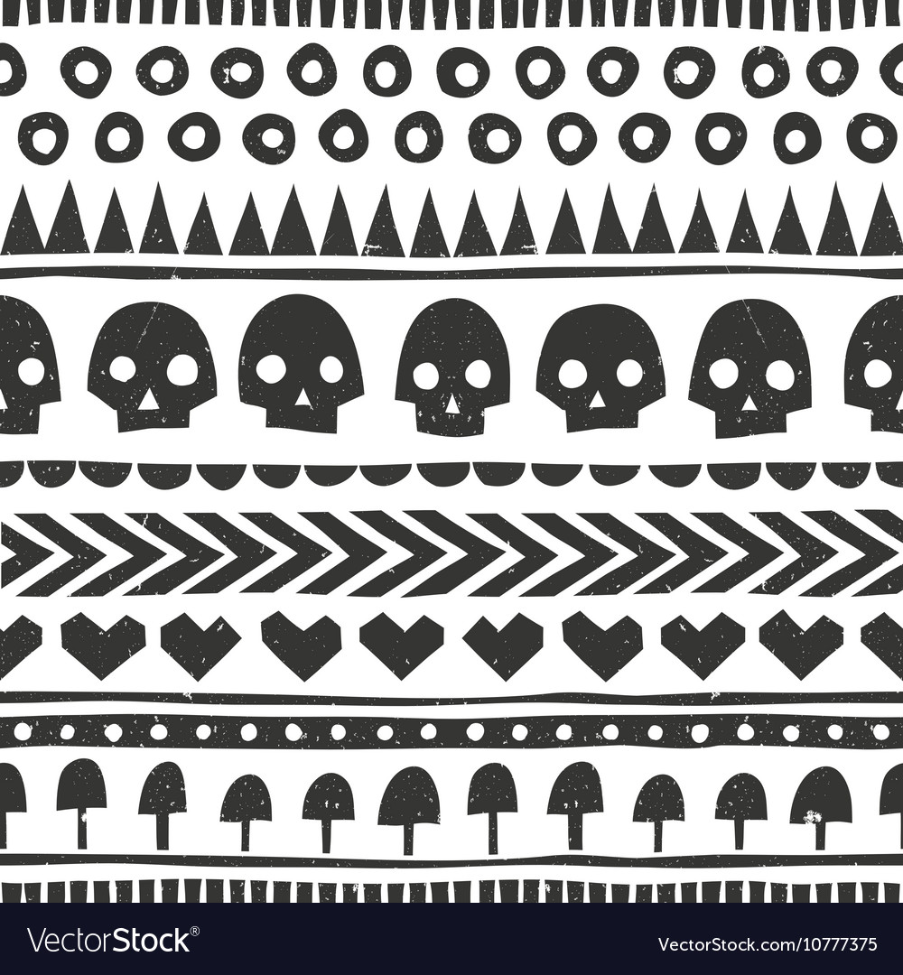 Seamless halloween pattern in tribal style