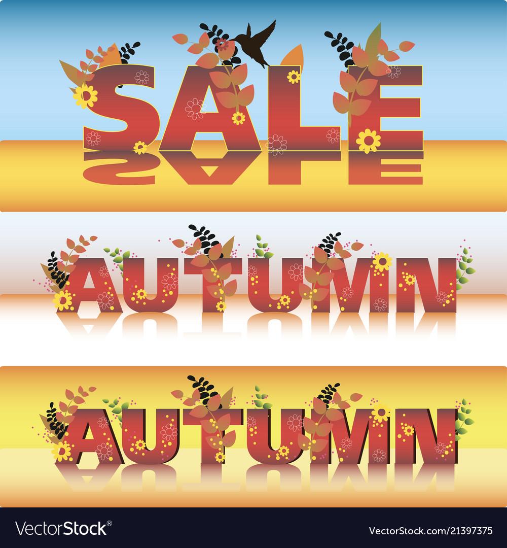 Set autumn sale poster design template