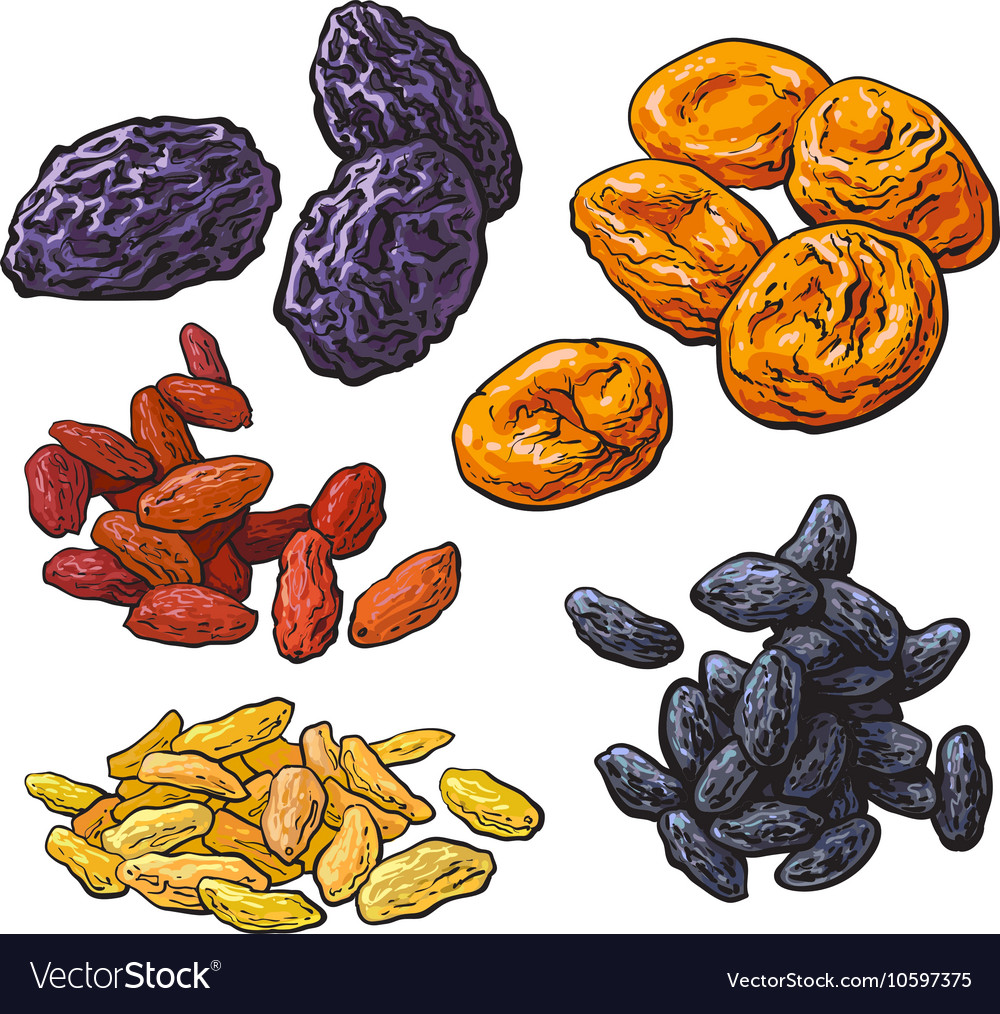 Set of dried fruits - prunes apricots and raisins