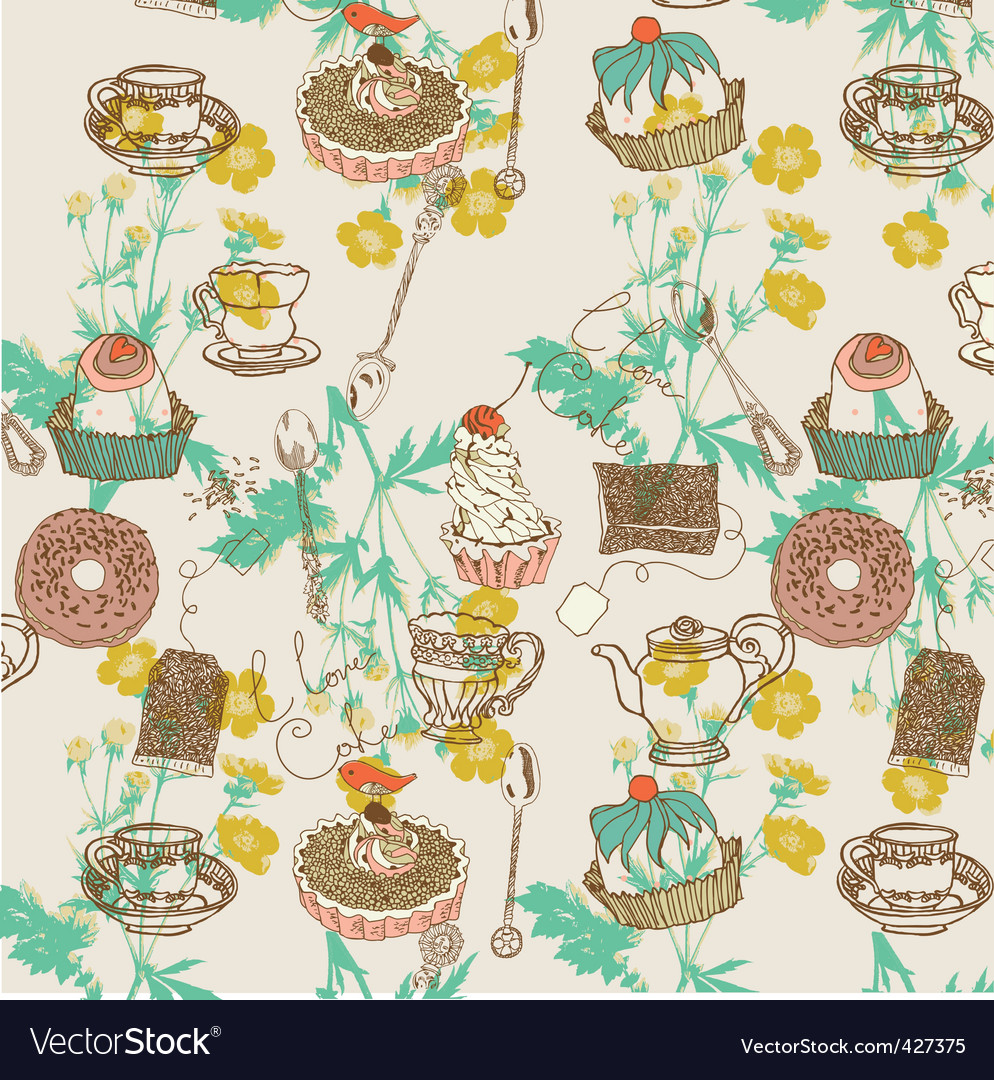 Tea and cakes background vector image