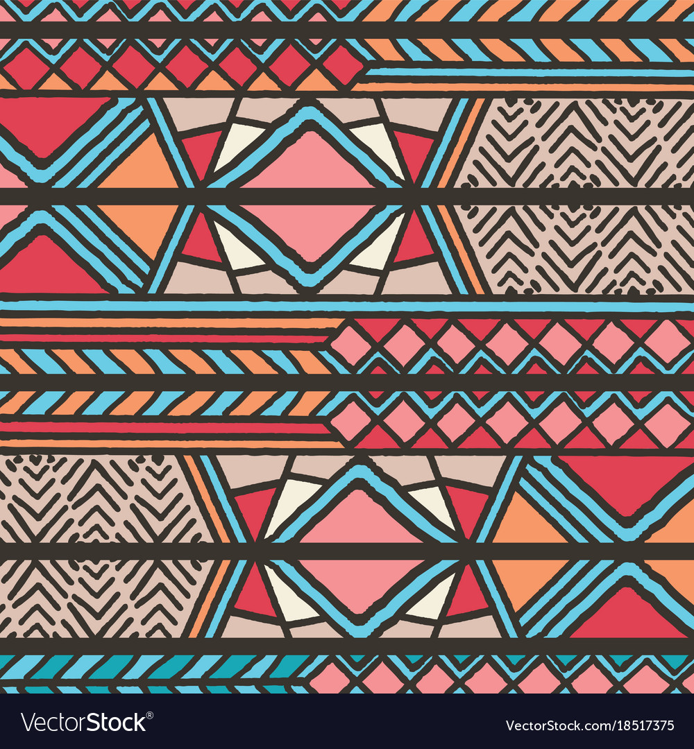 Tribal ethnic colorful bohemian pattern Royalty Free Vector