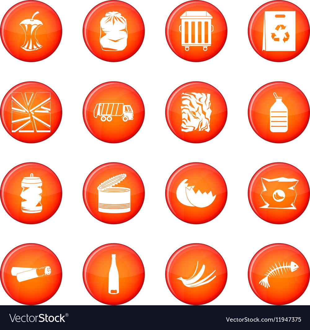 Waste and garbage icons set
