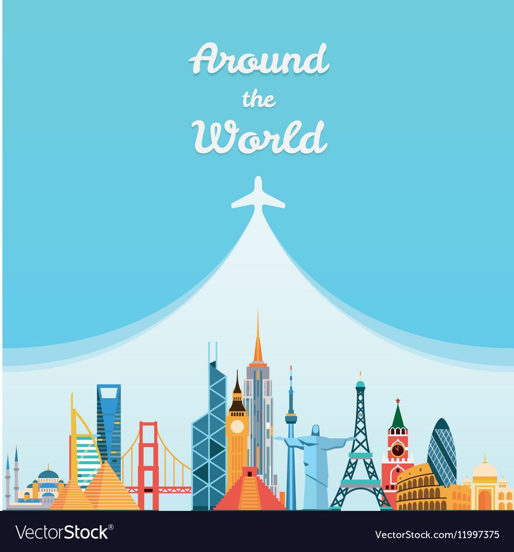 World landmarks Travel and tourism background vector image