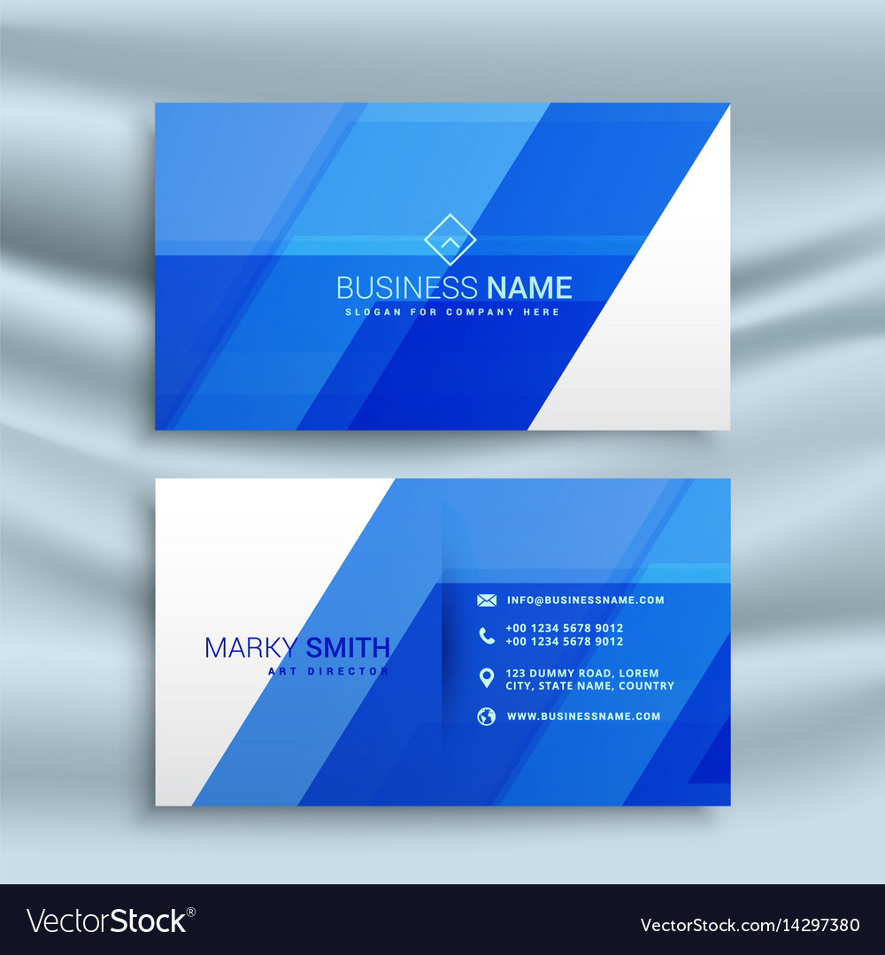 Elegant blue business card stationary template vector image wajeb Choice Image