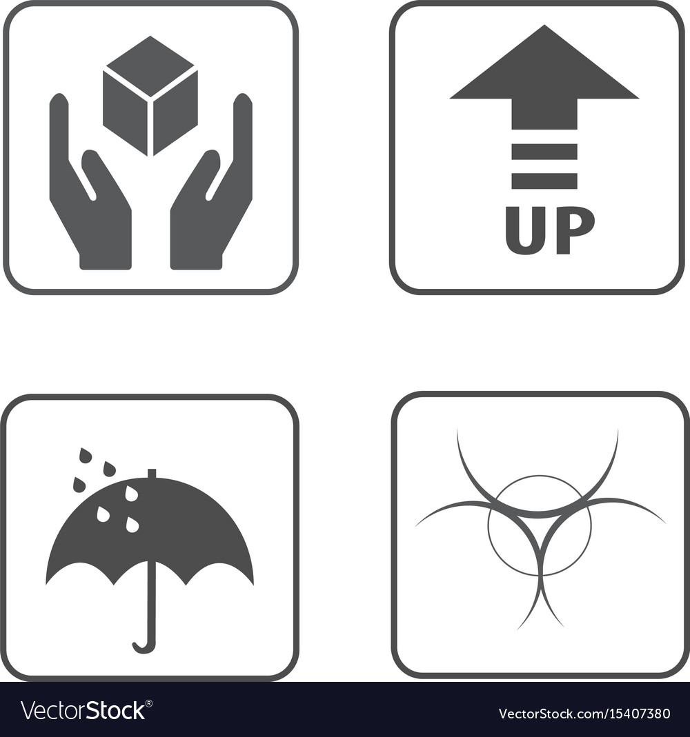 Fragile Symbol And Packing Box Icon Royalty Free Vector