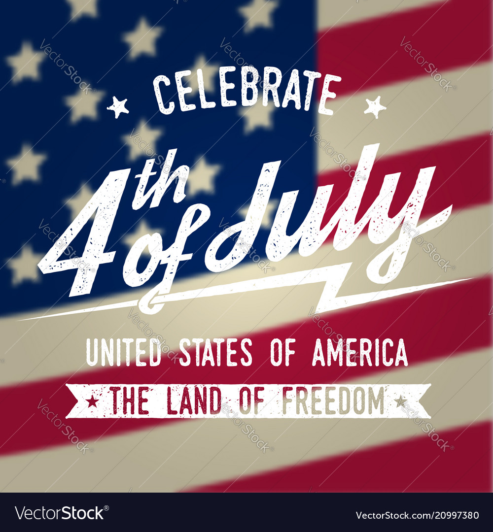Happy 4th of july design in retro style fourth