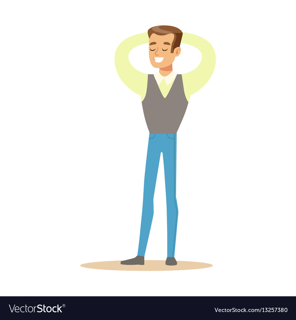 Man in shirt and vest overwhelmed with happiness vector image