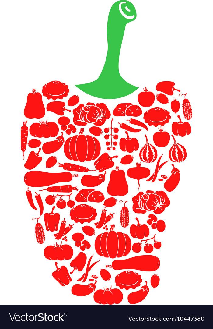 Pepper on vegetables