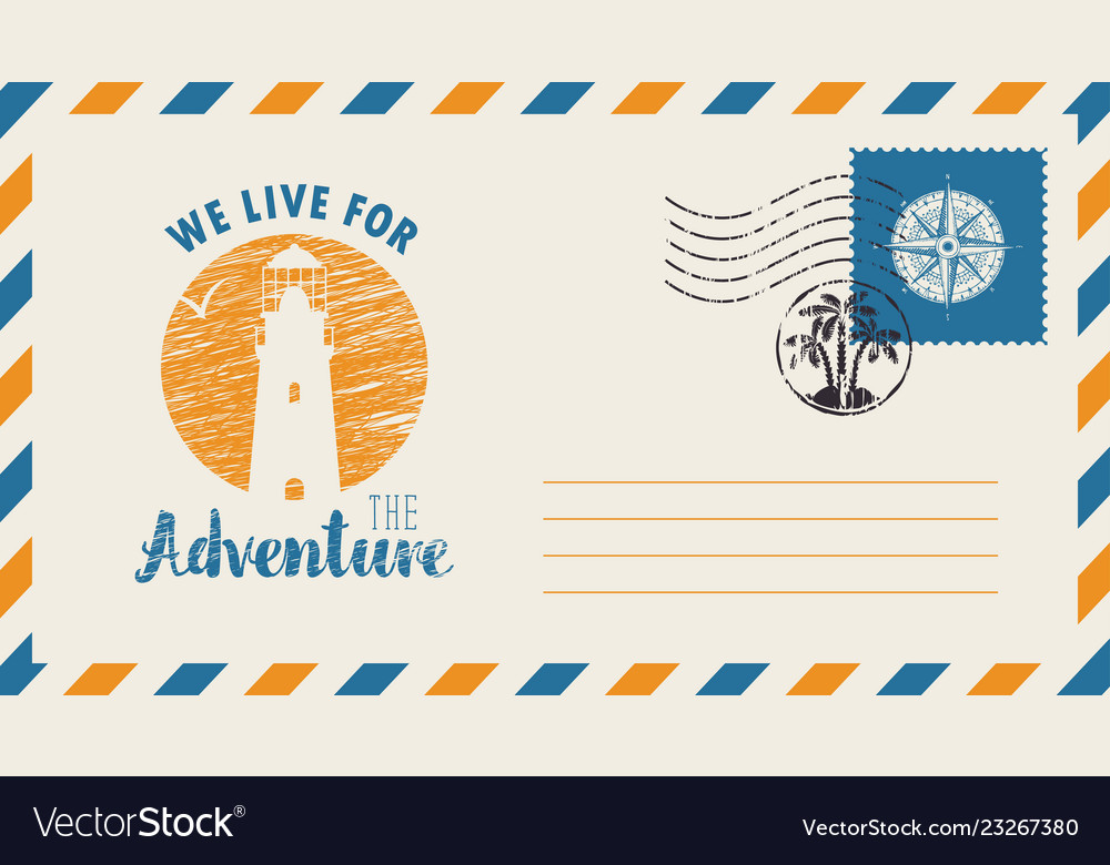 Postal envelope on the theme of travel with stamp