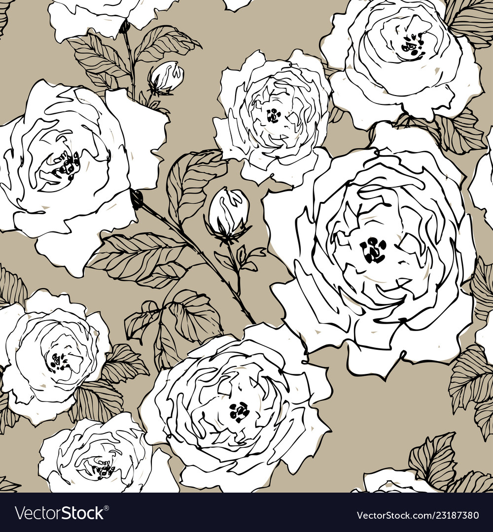 Seamless pattern of wild roses blossom branch