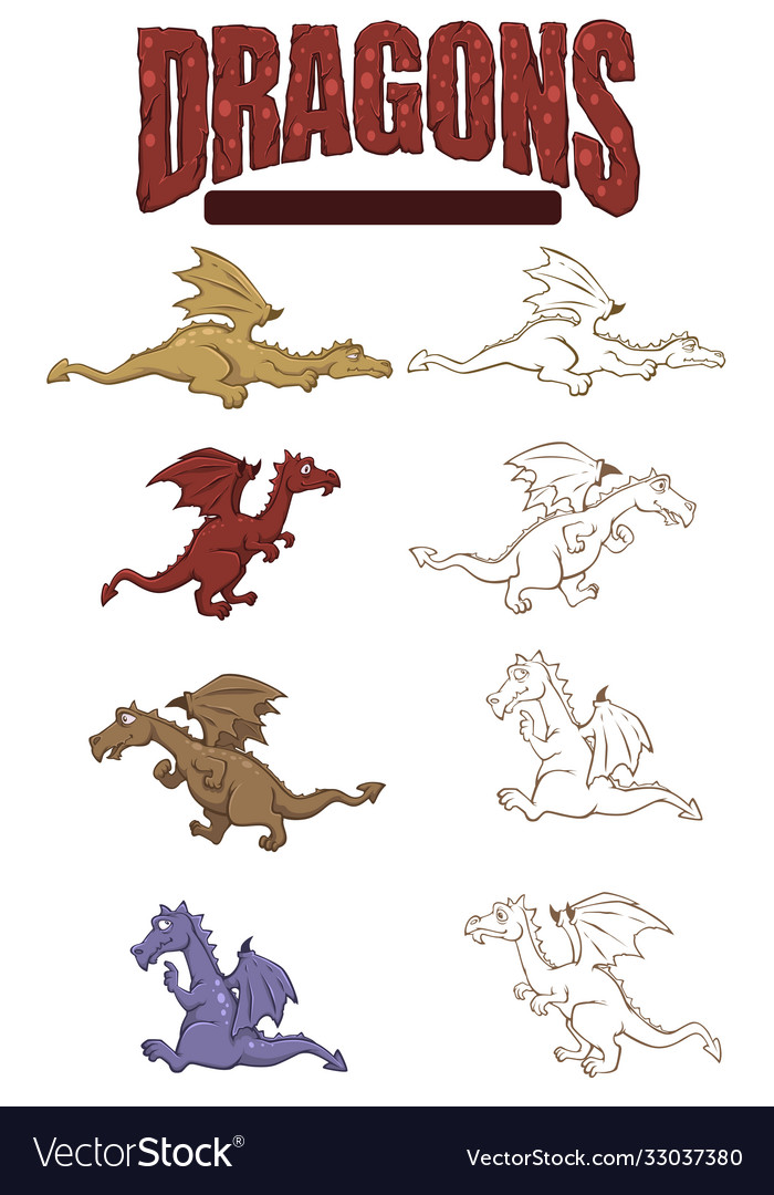 Set color and line art dragons for sticker