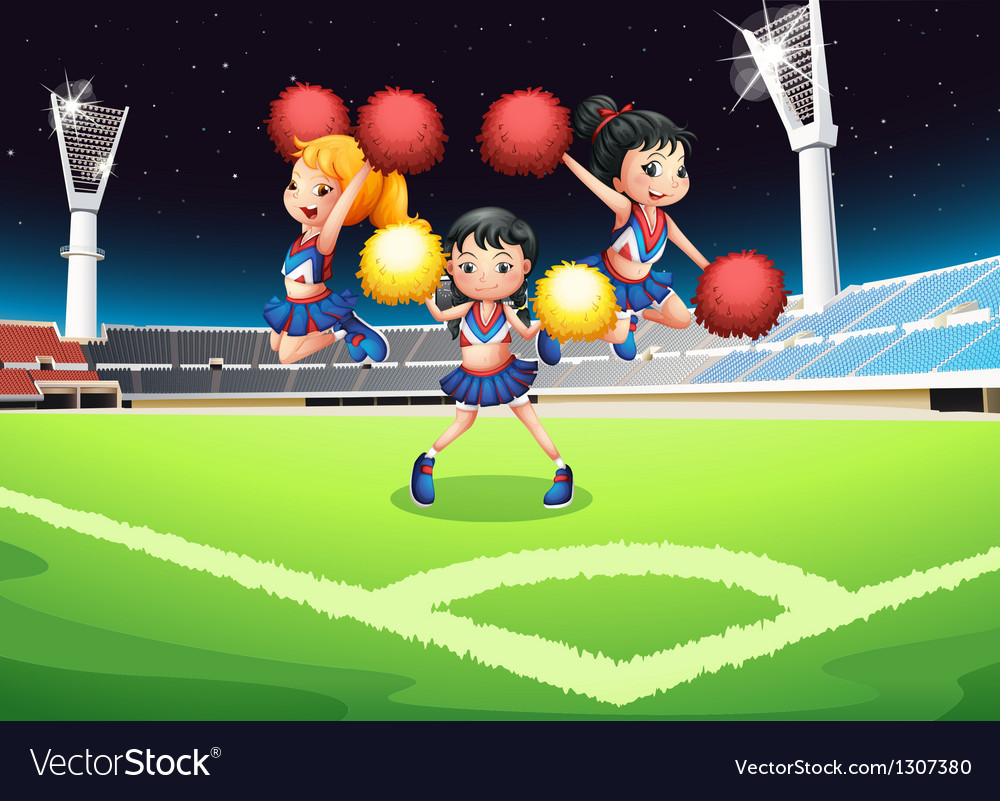 Three cheerdancers performing in the soccer field vector image