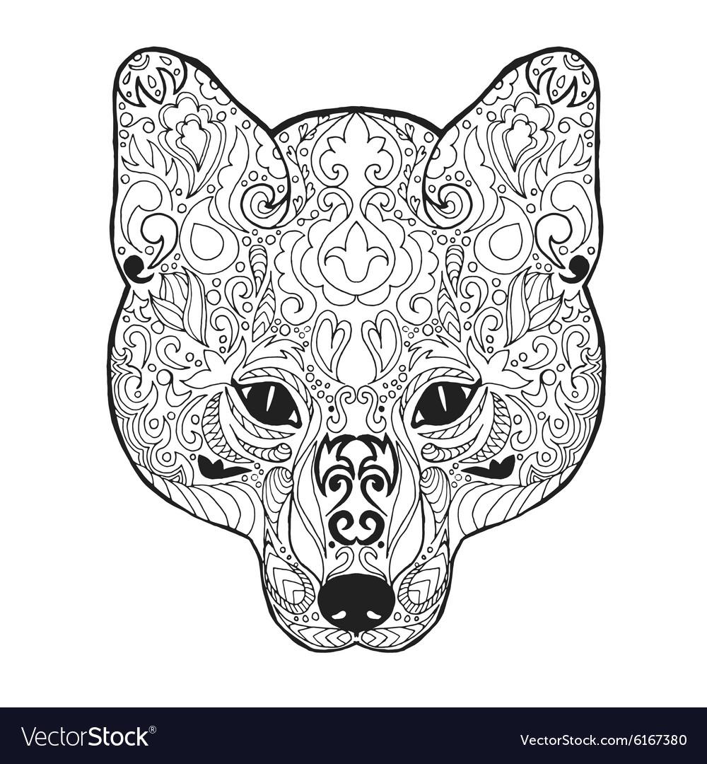 Zentangle stylized fox head Sketch for tattoo or