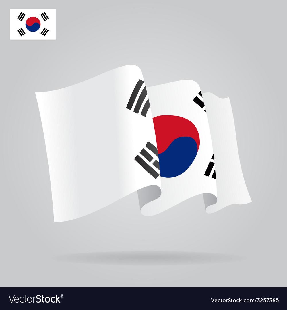 Flat and waving South Korea Flag