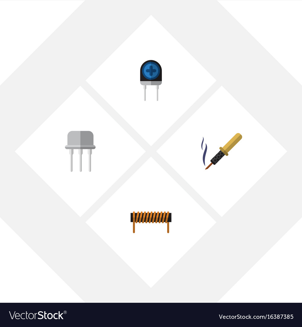 Flat icon technology set of repair resist bobbin vector image