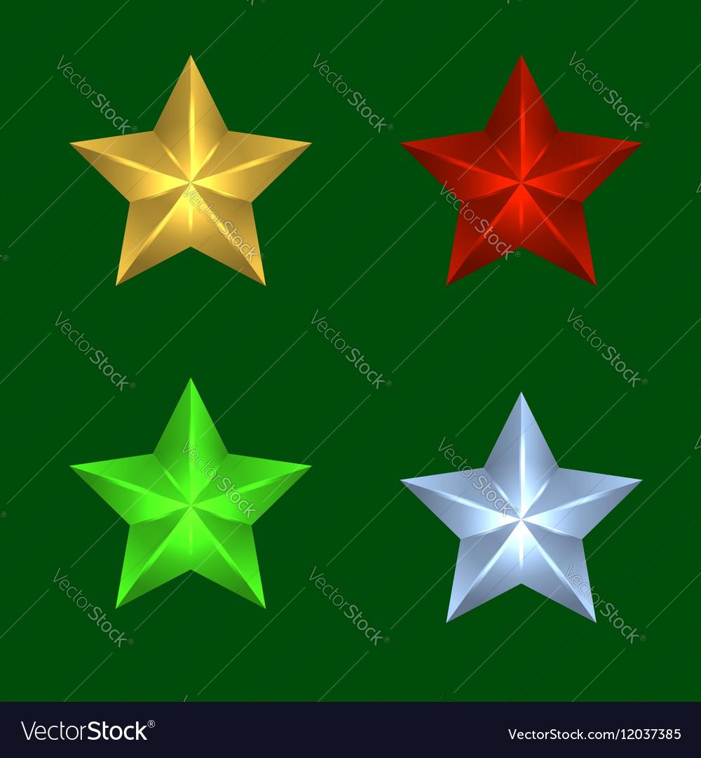 Four Christmas stars of vector image