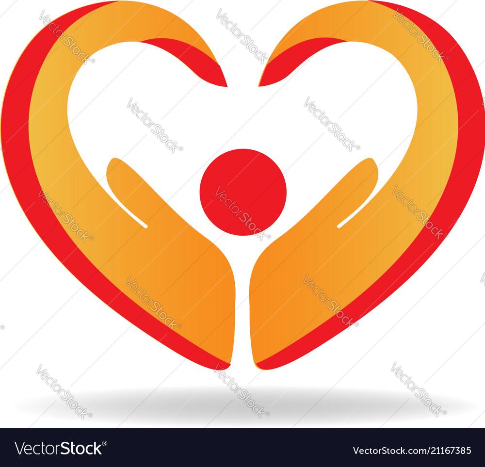Hands protection heart shape logo
