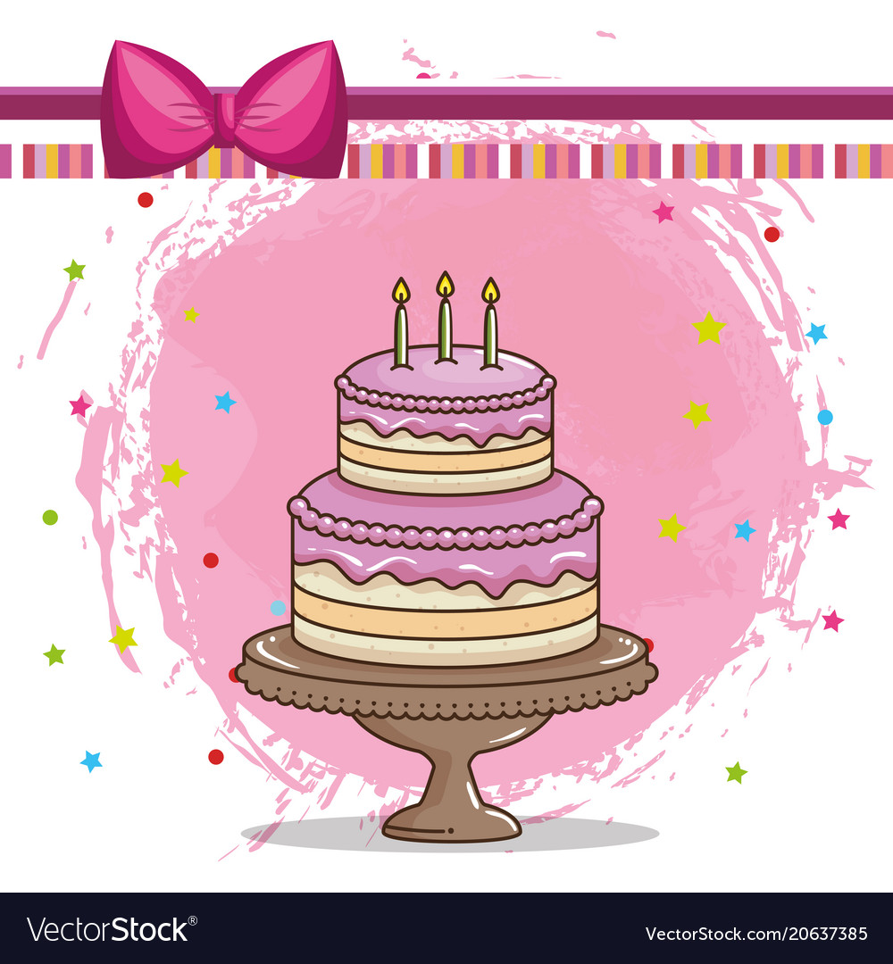 Happy Birthday Card With Sweet Cake Royalty Free Vector