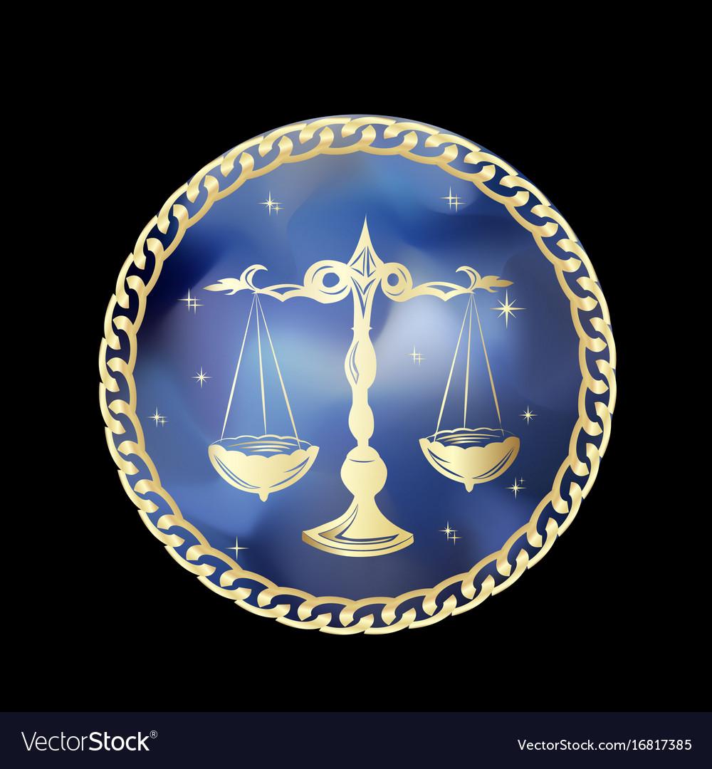 Libra zodiac sign in circle frame