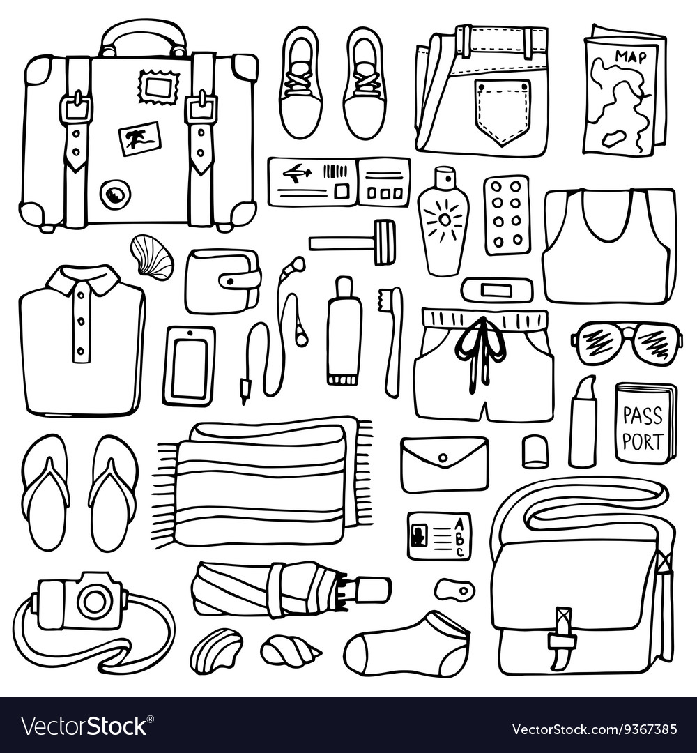 Man Travel Doodle Set vector image