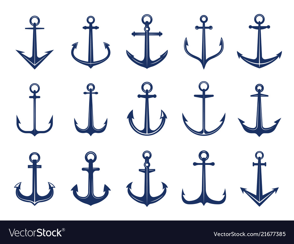 Marine anchor icons designs of navy symbols