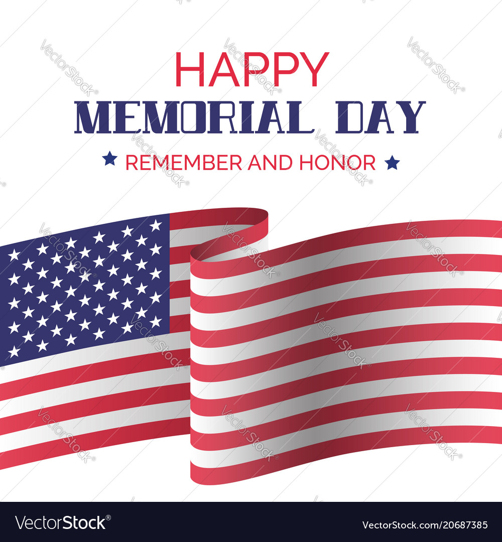 Memorial day greeting card with usa flag