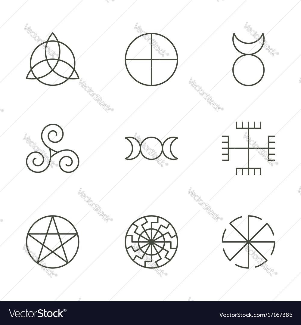 Pagan Ancient Symbols Mystery Sacred Icons Vector Image