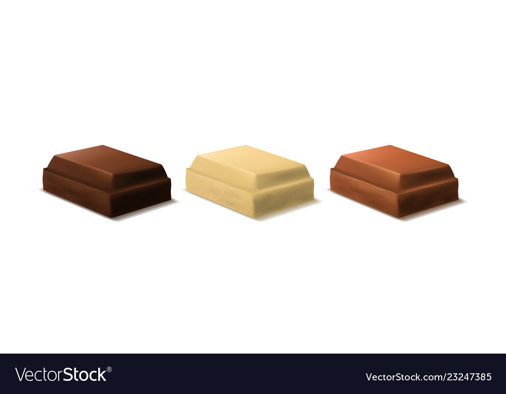 Realistic 3d detailed chocolate pieces set