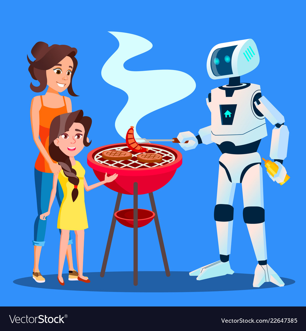 Robot preparing a barbecue for family