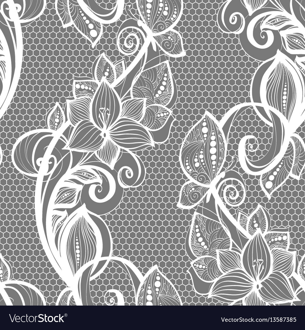 Seamless pattern white lace background old vintage
