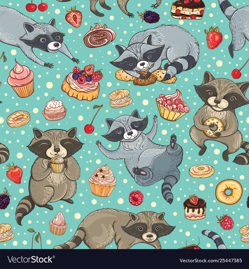 Seamless pattern with raccoons and cakes