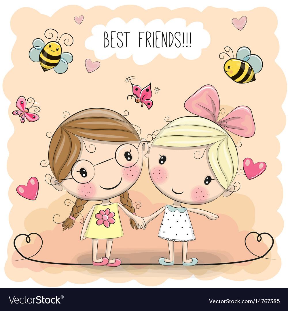 two cute cartoon girls royalty free vector image