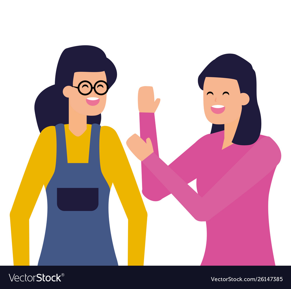 Two women characters portrait on white background