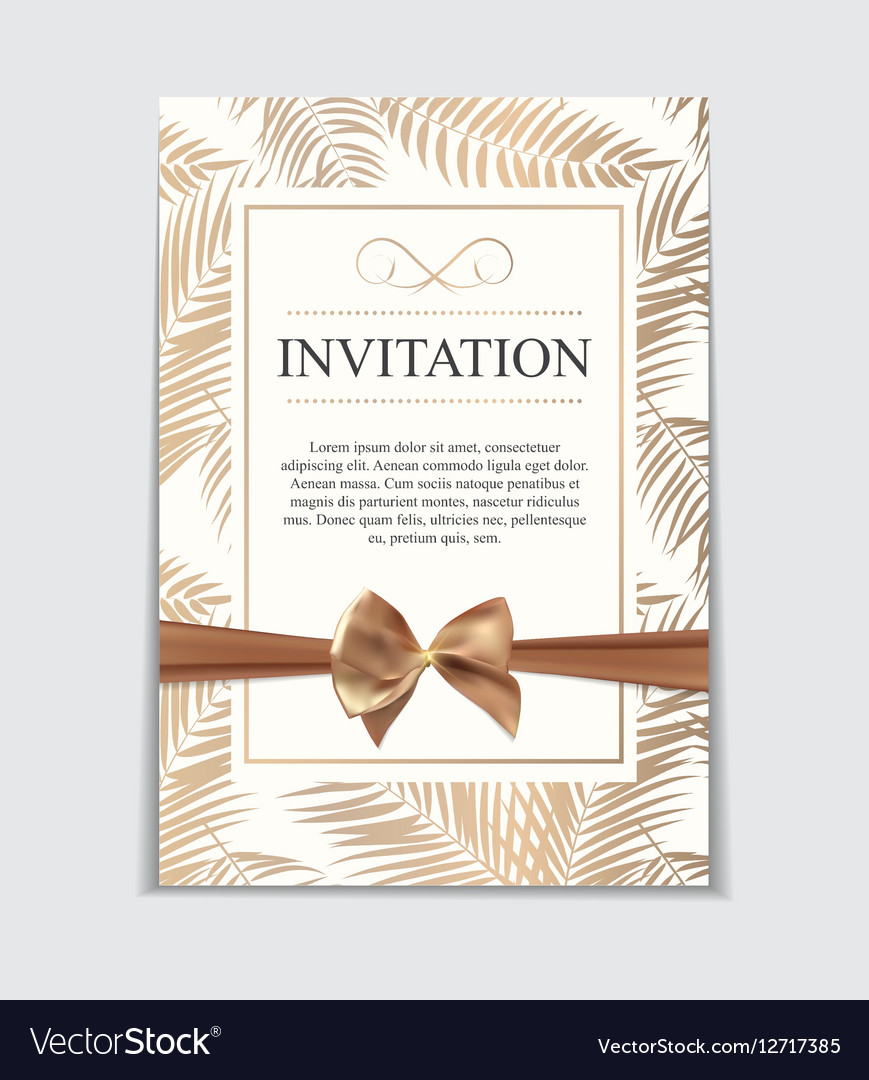 Vintage Wedding Invitation with Bow and Ribbon