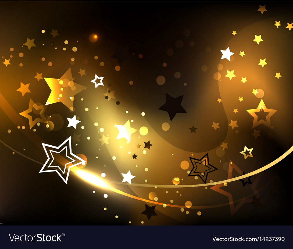 Abstract background with golden stars vector image