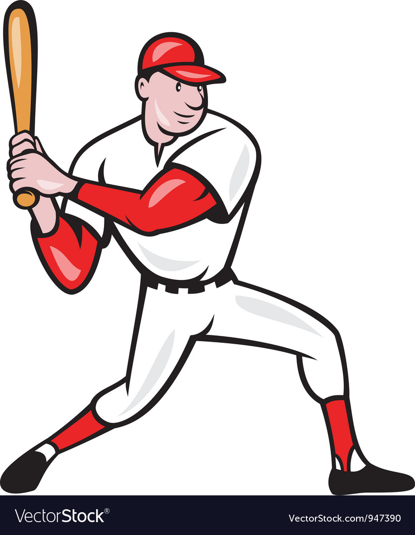 american baseball player batting cartoon vector image rh vectorstock com basketball player victor jackson baseball player vector art free