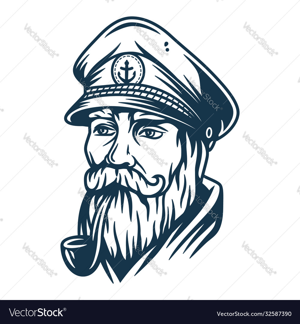 Bearded ship sailor with captain cap and a pipe